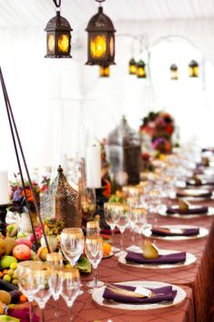 feasting table, lanterns, bohemian wedding decor