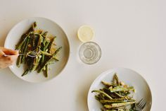 lemon-roasted asparagus + green bean salad with smoked paprika dressing
