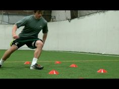 "Explosive Cuts | Football Training| Football Speed and Agility"" -- Contrast lateral cutback training with resistance bands, modify this by placing cones 30 ft apart and sprinting, not shuffling (though you might want to do this drill as is once a week for six sets)."