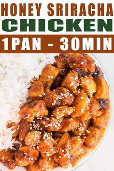HONEY SRIRACHA CHICKEN RECIPE- Quick, easy, healthy, made in one pan or crockpot in just 30 minutes. It's a sweet and spicy weeknight meal, made with simple ingredients. Use this marinade with chicken Weeknight Meals, Quick Meals, Healthy Dinner Recipes, Cooking Recipes, Easy Healthy Chicken Recipes, Paleo Recipes, Sriracha Recipes, Honey Sriracha Chicken, Japanese Recipes