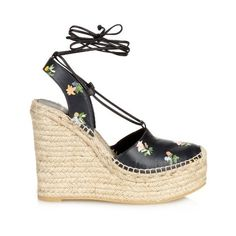 Saint Laurent Floral espadrille wedge sandals ($518) ❤ liked on Polyvore featuring shoes, sandals, black multi, wedge sandals, black wedge heel sandals, wedge espadrilles, black leather shoes and espadrille wedge sandals