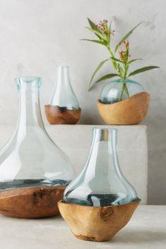 Slide View: 1: Teak & Bottle Vase