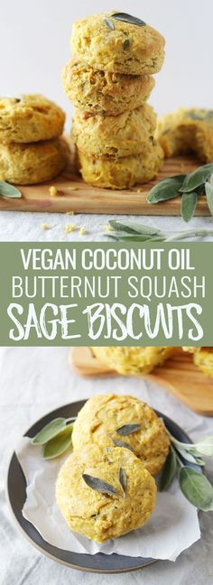 Coconut oil butternut squash & sage biscuits made without butter or dairy! Perfectly golden + flaky, made in under 30 minutes and perfect for the holidays. Nutritionalfoodie.com