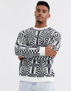 Browse online for the newest ASOS DESIGN oversized sweater with mixed check design styles. Shop easier with ASOS' multiple payments and return options (Ts&Cs apply). Asos Online Shopping, Online Shopping Clothes, Casual Suit, Men Casual, Sweater Jacket, Men Sweater, Design Azul, Oversize Pullover, Slim Fit Dresses
