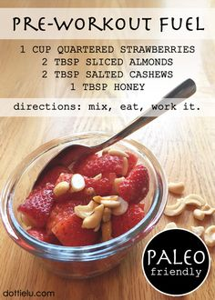 Pre-workout or anytime Paleo snack. So simple! Perfect to throw in a small container, take to work, and munch on before heading to the gym after putting in 8 hours.