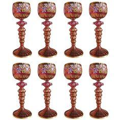 Set of Eight Meyr's Neffe Enameled Cranberry Glass Wine Stems c 1900