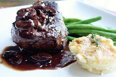 Filet Mignon w/ Cabernet Cremini Sauce Demi Glaze Recipe, Beef Recipes, Cooking Recipes, Steak Dishes, Great Recipes, Favorite Recipes, Tenderloin Steak, Mushroom Sauce, Filets