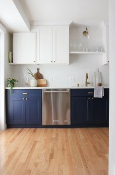7 Money-Saving Lessons I've Learned from Renovating Homes. Love the lower cabinet color, and the white grout subway tiles