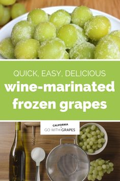 For a summer treat that is quick and easy to make, try this delicious wine-marinated frozen grapes recipe. Grapes from California and California wine are the perfect companions on a hot, summer day. Grape Recipes, Fruit Recipes, Summer Snacks, Summer Recipes, Kombucha, Yummy Drinks, Delicious Desserts, Diy Beauty Hacks, Frozen Grapes
