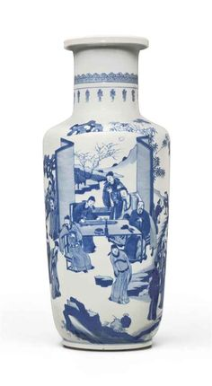 A BLUE AND WHITE ROULEAU VASE KANGXI PERIOD (1662-1722) Price realised USD 183,750 Estimate USD 20,000 - USD 30,000