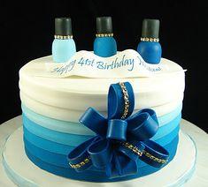 Birthday Cake with Make up theme. Fondant finish.