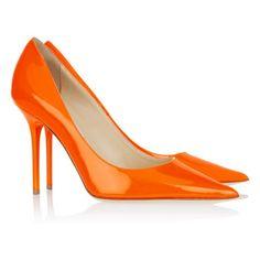 Jimmy Choo Agnes Patent Leather Pumps Orange heels sale