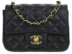 393eb4aaed9e Chanel Classic Square Mini Flap Black Calfskin Leather Shoulder Bag 43% off  retail