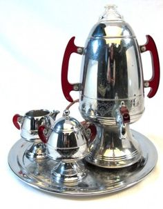 Lot: 271: United Art Deco Coffee Maker Percolator Set, Lot Number: 0271, Starting Bid: $80, Auctioneer: Antiek Journeys Inc, Auction: Antique,Fine Art, Glass, Jewelry,Ives Train, Date: March 25th, 2012 EDT