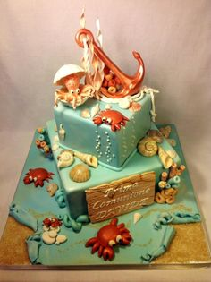 a great cake artwork Ocean Cakes, Beach Cakes, Crazy Cakes, Fancy Cakes, Cupcakes, Cupcake Cakes, Gorgeous Cakes, Amazing Cakes, Fete Julie