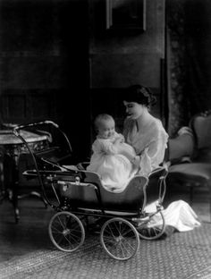 1913 Woman and Baby and Baby Carriage