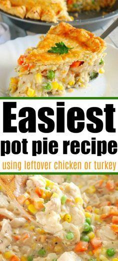 Roast Chicken Pie, Chicken Pork Recipe, Homemade Chicken Pot Pie, Easy Chicken Dinner Recipes, Baked Chicken Recipes, Rotisserie Chicken, Salad Chicken, Chicken Ideas, Roast Beef
