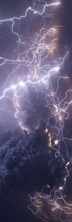 Volcanic ash cloud lightning created by static electricity as the particles rub and tumble together. #Lightning