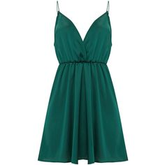 Emerald Green Satin Extreme Plunge Shift Dress ($35) ❤ liked on Polyvore featuring dresses, blue plunge dress, satin dress, blue satin dress, blue color dress and emerald green shift dress
