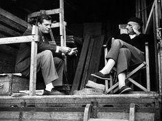 Marcello Mastroianni and director Mario Monicelli, 1950's