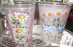 2 Antique frosted Pink with enameled basket flowers forget me not, from glassswan on Ruby Lane