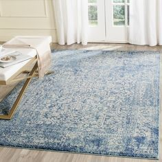 Safavieh Evoke Vintage Oriental Blue/ Ivory Distressed Rug (6' 7 x 9') | Overstock.com Shopping - The Best Deals on 5x8 - 6x9 Rugs