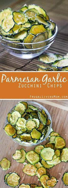 Parmesan Garlic Zucchini Chips - 11 Healthy Office Snacks | GleamItUp