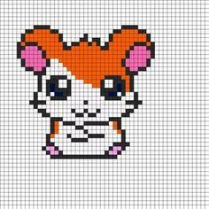 Hamtaro Perler Bead Pattern I'll do this in cross-stitch Fuse Bead Patterns, Kandi Patterns, Perler Patterns, Beading Patterns, Cross Stitch Patterns, Perler Beads, Perler Bead Art, Fuse Beads, Perler Bead Designs