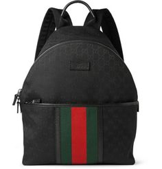 Gucci - Leather-Trimmed Canvas Backpack  6c7a2813bcb07