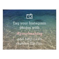 Beach Theme Instagram Photos Hashtag Wedding Sign Poster