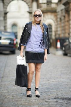 Alexandra in an Acne jacket, J.W. Anderson shirt, Chloe skirt, and Alexander Wang shoes #streetstyle
