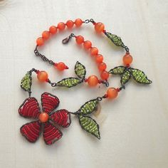 Beaded Flower Necklace Wire Woven Seed Beads Jewelry Antique Copper Tangerine Orange Green Red Wire Wrapped Leaf Leaves Floral Handmade OOAK. $139.00, via Etsy.