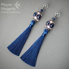 Long tassel earrings Blue and Bronze earrings