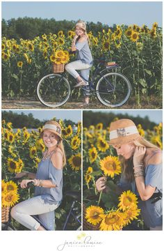 Janice Louise Photography | Delaware Portrait Photographer | Senior Portrait Session in sunflower field with bicycle.