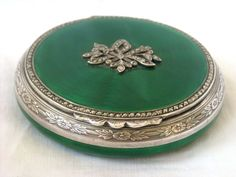 Art Deco Sterling Silver Double Sided Guilloche Enamel & Marcasite Powder Compact circa 1925  #antique #vintage #compact