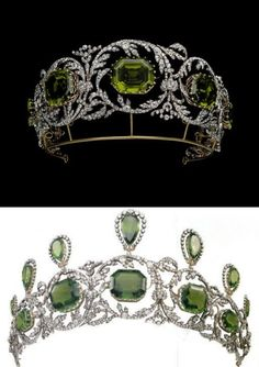 Another photo Other Material 2 Diamond and peridot tiara from a parure incl necklace, earrings, devant de corsage. 1820s, attr Köchert (later Hapsburg court jewelers). 7 of the pendants from the necklace can be set upright on the tiara for its second form. A delicate floral motif runs through all of the pieces in the parure, including the tiara.