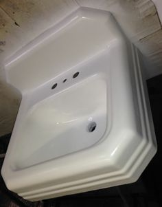 Vintage 1958 Cast Iron Bath Sink, (19 X17) Refinished In Bright White Mid
