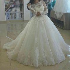 Spitze Weiß Ivory Langarm Brautkleider Hochzeitskleid Ballkleid Maßgeschneidert | eBay