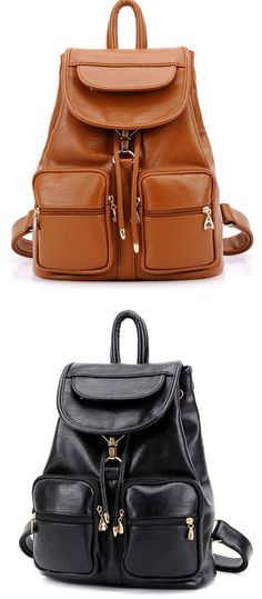 Which color do you like? Fashion School New Multi-pocket Leather Backpack #fashion #school #leather #backpack #bag #cute