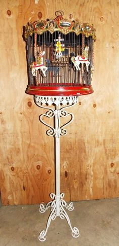 Beautiful Rare Vintage Carousel Bird Cage Hand Painted Horses WITH Stand