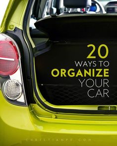20 Ways to Organize Your Car. There are so many tips and tricks to help keep your car organized – check out a few of my favorite car organizing accessories!