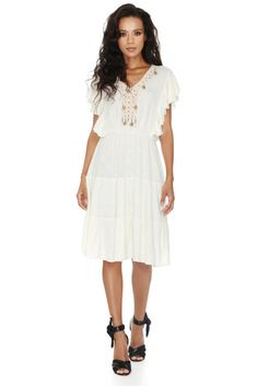 Sumptuously cozy Vero Milano white wool tassels dress – just perfect for Fall layering.