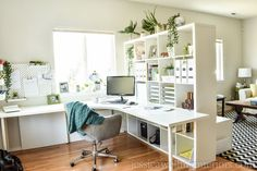 Ikea Home Office Ideas: My New Design Studio Reveal! This Ikea home office makeover on a budget features the Kallax bookshelf as a room divider, a Linnm Ikea Home Office, Home Office Chairs, Home Office Space, Home Office Design, Home Office Furniture, Furniture Ideas, Furniture Design, Ikea Office Chair, Pipe Furniture
