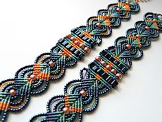 Micro macrame bracelets in blue and orange by Sherri Stokey. Macrame Jewelry, Macrame Bracelets, Diy Jewelry, Jewelry Making, Micro Macrame Tutorial, Macrame Bracelet Tutorial, Lace Art, Micro Macramé, Alpha Patterns