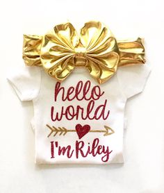 Hello World Newborn Girls, Coming Home Outfit Girls, hello world bodysuit, newborn take home, Baby Name One piece Girls, Baby Shower Gift by MarieCompany on Etsy https://www.etsy.com/listing/289005847/hello-world-newborn-girls-coming-home
