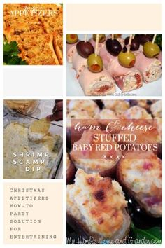 Christmas Appetizers - How-To Party Solution For Entertaining. Click through for a carefree holiday party idea. Christmas Party Finger Foods, Christmas Appetizers, Potato Appetizers, Mini Appetizers, Cold Finger Foods, Baby Red Potatoes, Mini Sandwiches, Ham And Cheese, Food For A Crowd