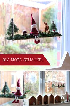 DIY: Gnome swing as a Christmas window decoration - Moss Swing – DIY Window: Deco in the window looks pretty in every season. The elf swing can be de - Simple Christmas, Christmas Diy, Christmas Ornaments, Christmas Window Decorations, Holiday Decor, Handmade Gifts For Girlfriend, Halloween Rocks, Gnome, Xmas Gifts