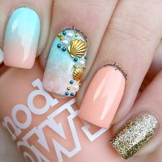 peach summer nails beach nails Cool Tropical Nails Designs For Summer Tropical Nail Designs, Cute Summer Nail Designs, Colorful Nail Designs, Nail Art Designs, Nails Design, Beach Nail Designs, Colorful Nails, Tropical Nail Art, Coral Nails With Design