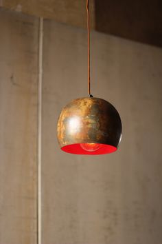 Bowl pendant lamp with red interior - love this. Rustic Pendant Lighting, Rustic Lamps, Red Accents, Home Accents, Interior Lighting, Lighting Design, Lighting Ideas, Red Interiors, Lights