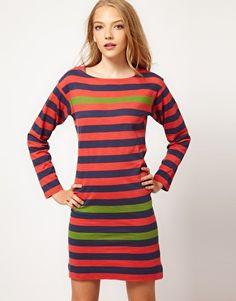 Enlarge French Connection Jazz Stripe Dress With Slash Neck